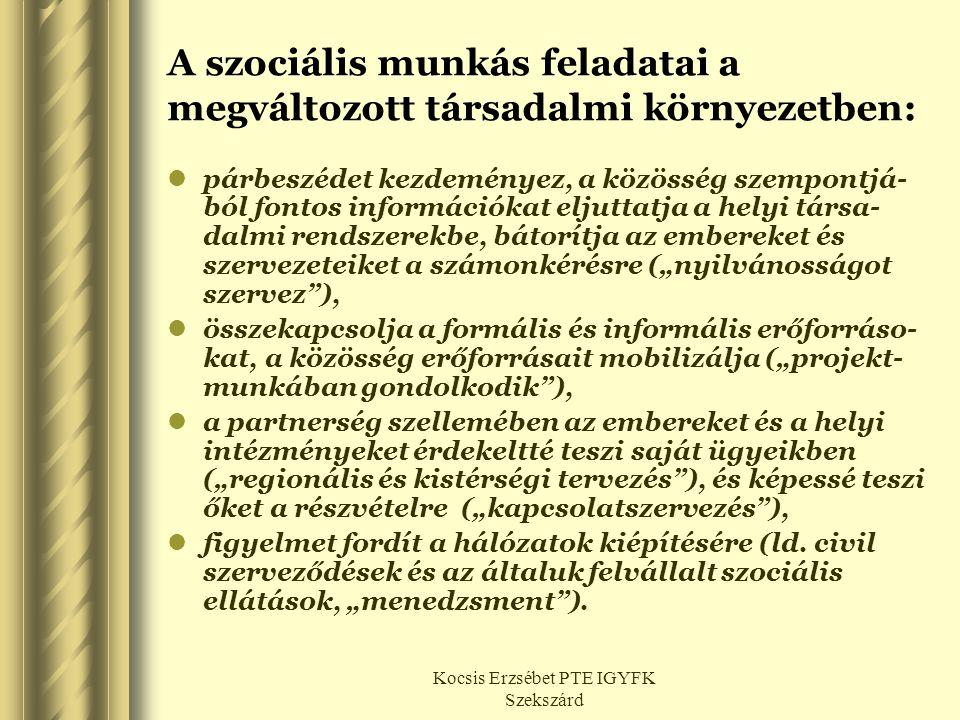 Kocsis Erzsébet PTE IGYFK Szekszárd A szociális munkás feladatai a megváltozott társadalmi környezetben:  párbeszédet kezdeményez, a közösség szempon