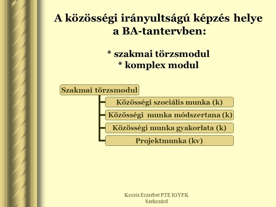 Kocsis Erzsébet PTE IGYFK Szekszárd A közösségi irányultságú képzés helye a BA-tantervben: * szakmai törzsmodul * komplex modul Szakmai törzsmodul Köz