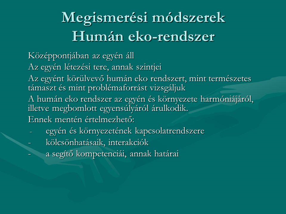 Megismerési módszerek Humán eko-rendszer Középpontjában az egyén áll Az egyén létezési tere, annak szintjei Az egyént körülvevő humán eko rendszert, m