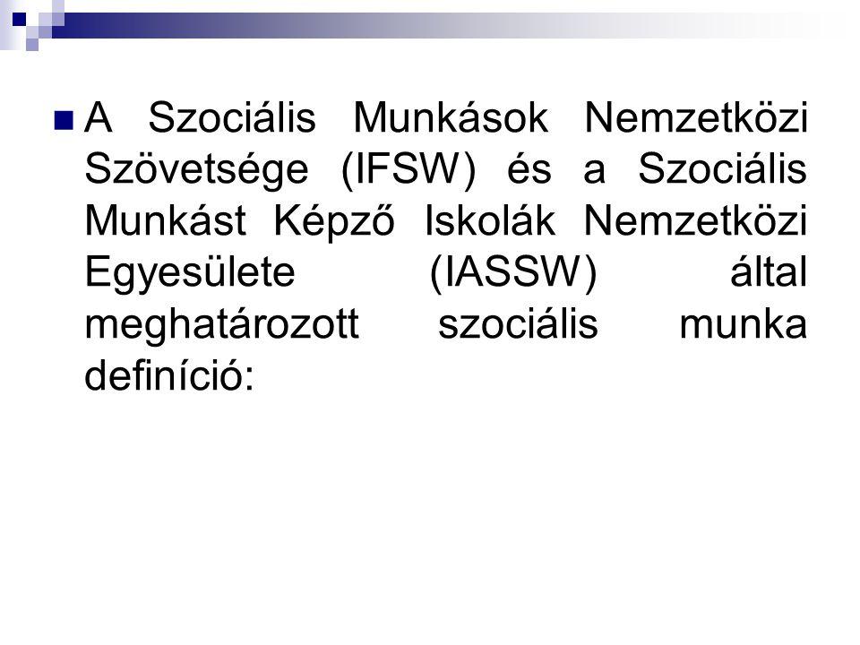  A Szociális Munkások Nemzetközi Szövetsége (IFSW) és a Szociális Munkást Képző Iskolák Nemzetközi Egyesülete (IASSW) által meghatározott szociális m
