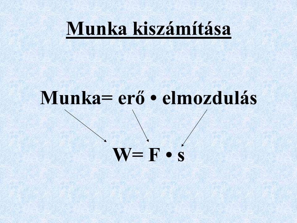 Munka kiszámítása Munka= erő • elmozdulás W= F • s
