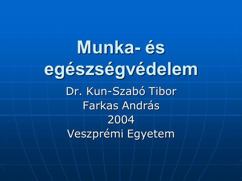 Munka- és egészségvédelem Dr. Kun-Szabó Tibor Farkas András 2004 Veszprémi Egyetem