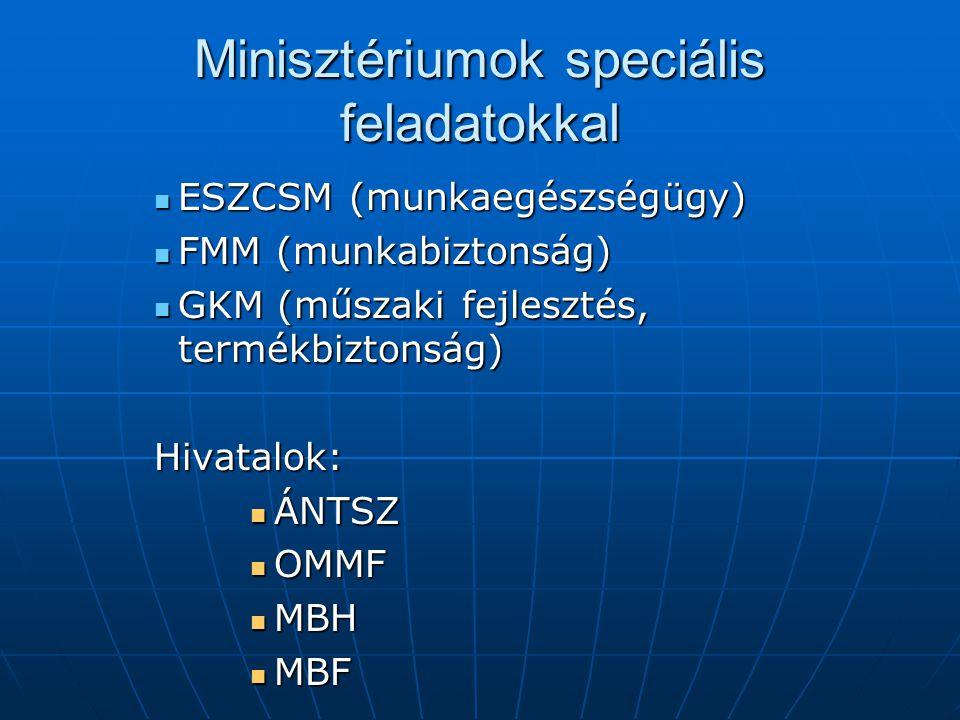 Minisztériumok speciális feladatokkal  ESZCSM (munkaegészségügy)  FMM (munkabiztonság)  GKM (műszaki fejlesztés, termékbiztonság) Hivatalok:  ÁNTSZ  OMMF  MBH  MBF