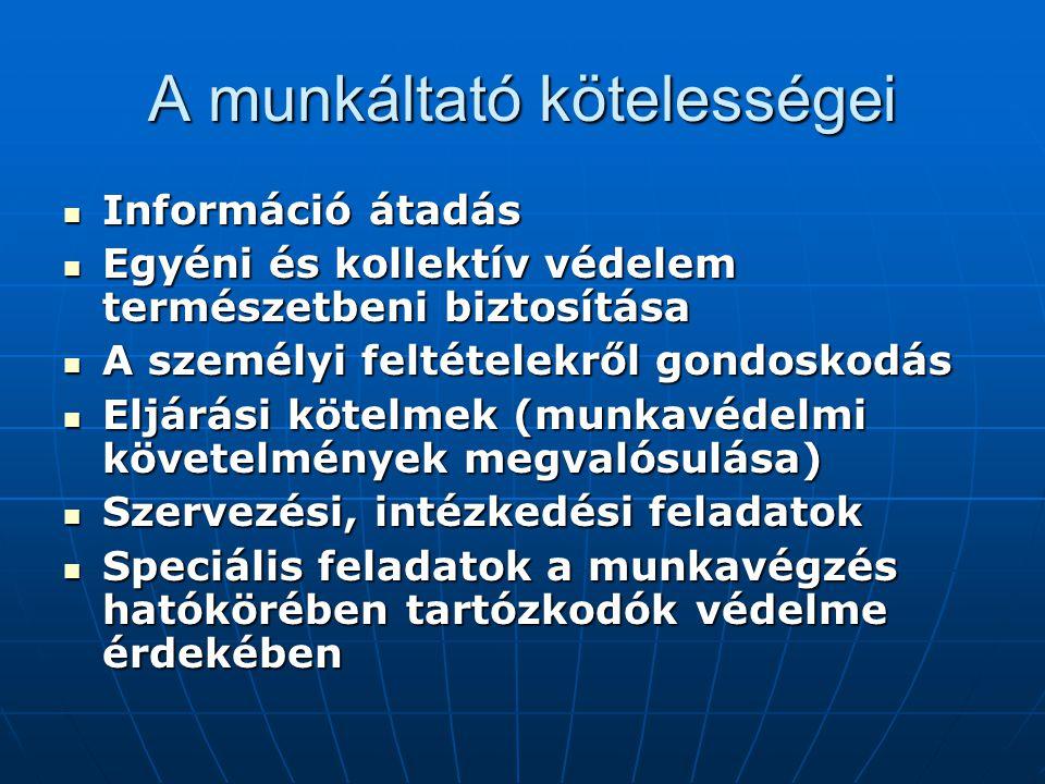 A munkáltató kötelességei  Információ átadás  Egyéni és kollektív védelem természetbeni biztosítása  A személyi feltételekről gondoskodás  Eljárási kötelmek (munkavédelmi követelmények megvalósulása)  Szervezési, intézkedési feladatok  Speciális feladatok a munkavégzés hatókörében tartózkodók védelme érdekében