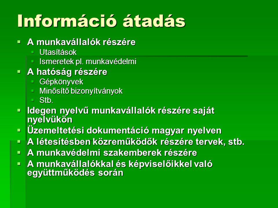 Információ átadás  A munkavállalók részére  Utasítások  Ismeretek pl.
