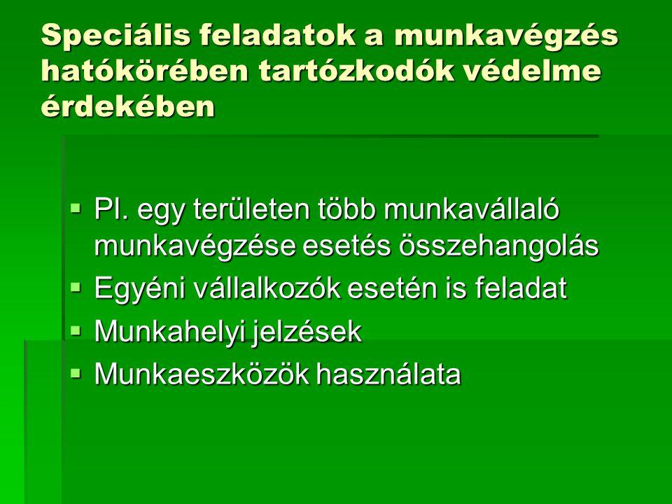 Speciális feladatok a munkavégzés hatókörében tartózkodók védelme érdekében  Pl.