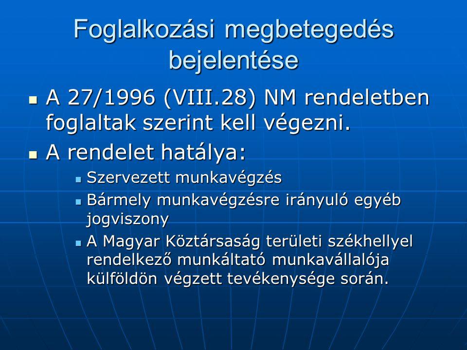 Foglalkozási megbetegedés bejelentése  A 27/1996 (VIII.28) NM rendeletben foglaltak szerint kell végezni.