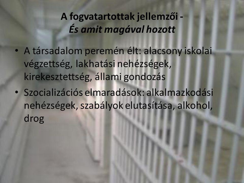 A fogvatartottak jellemzői - És amit magával hozott • A társadalom peremén élt: alacsony iskolai végzettség, lakhatási nehézségek, kirekesztettség, ál