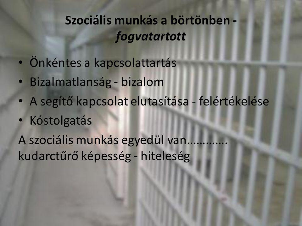 Szociális munkás a börtönben - fogvatartott • Önkéntes a kapcsolattartás • Bizalmatlanság - bizalom • A segítő kapcsolat elutasítása - felértékelése •