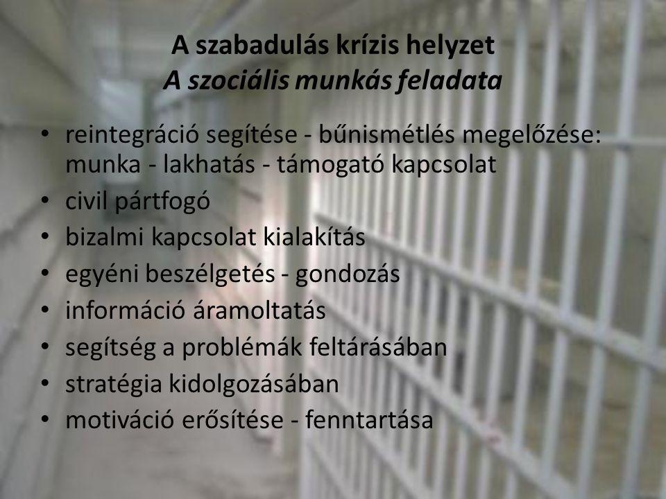 A szabadulás krízis helyzet A szociális munkás feladata • reintegráció segítése - bűnismétlés megelőzése: munka - lakhatás - támogató kapcsolat • civi