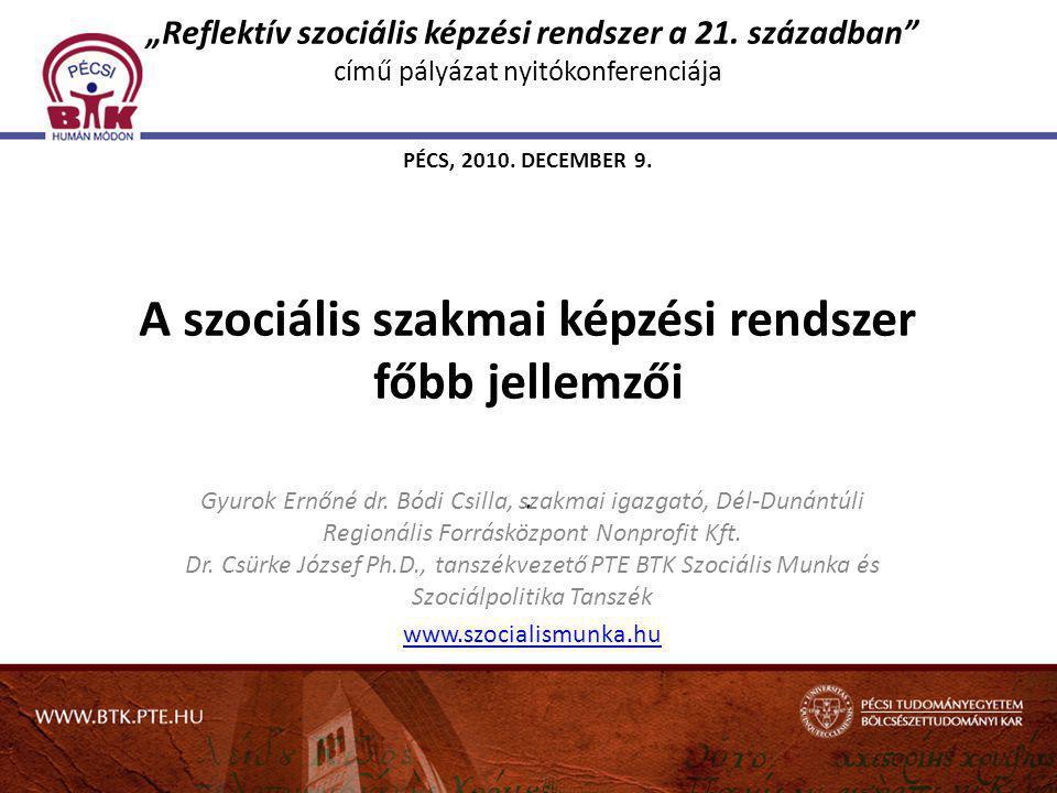 """""""Reflektív szociális képzési rendszer a 21. században"""" című pályázat nyitókonferenciája PÉCS, 2010. DECEMBER 9. A szociális szakmai képzési rendszer f"""