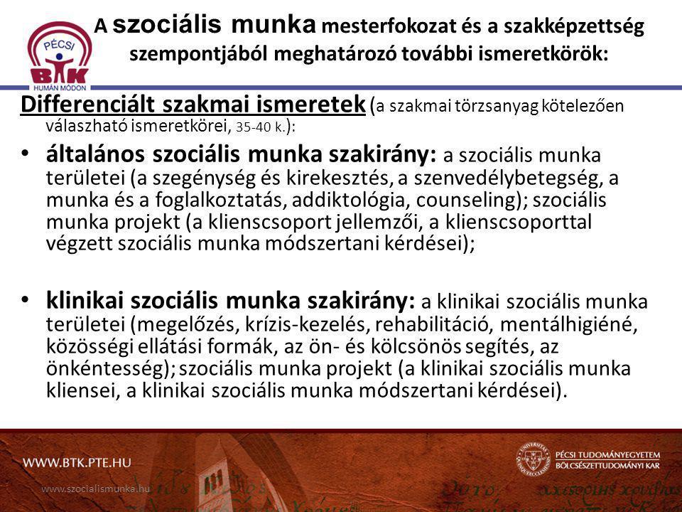 www.szocialismunka.hu A szociális munka mesterfokozat és a szakképzettség szempontjából meghatározó további ismeretkörök: Differenciált szakmai ismere