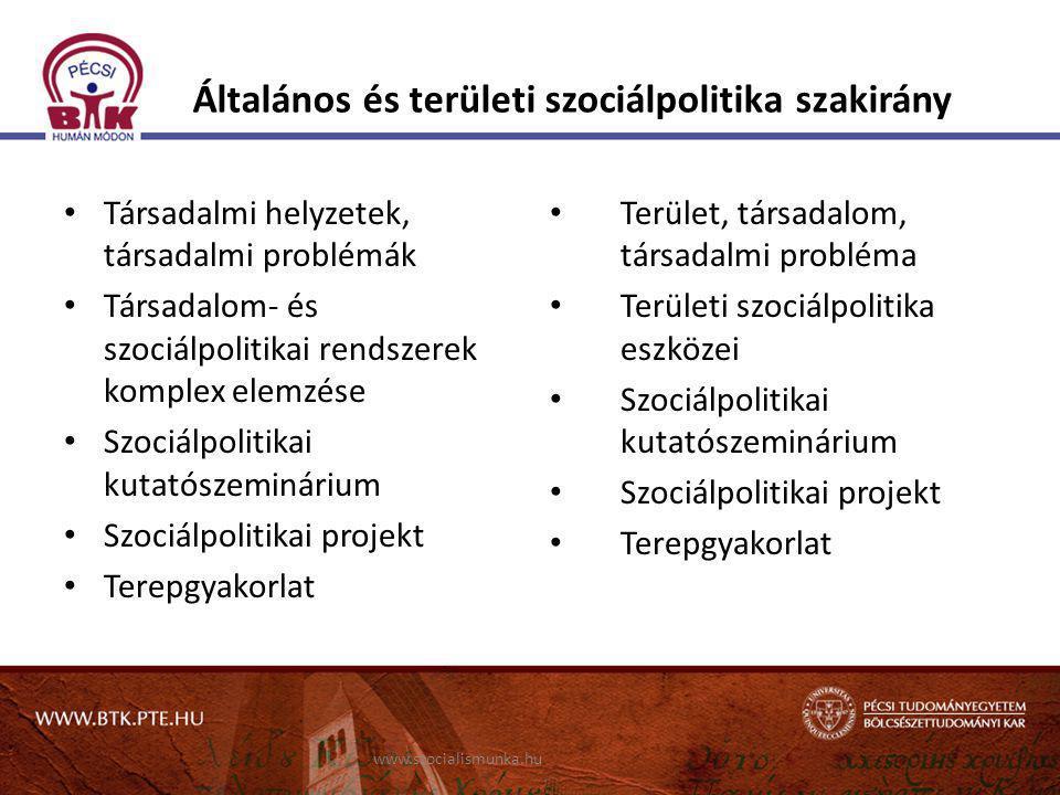 Általános és területi szociálpolitika szakirány • Társadalmi helyzetek, társadalmi problémák • Társadalom- és szociálpolitikai rendszerek komplex elem