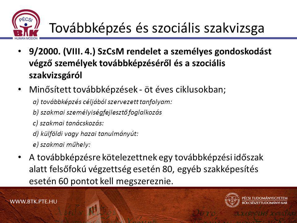 Továbbképzés és szociális szakvizsga • 9/2000. (VIII. 4.) SzCsM rendelet a személyes gondoskodást végző személyek továbbképzéséről és a szociális szak