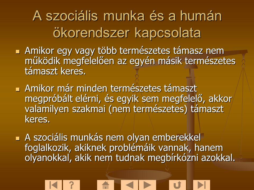 A szociális munka és a humán ökorendszer kapcsolata  Amikor egy vagy több természetes támasz nem működik megfelelően az egyén másik természetes támaszt keres.