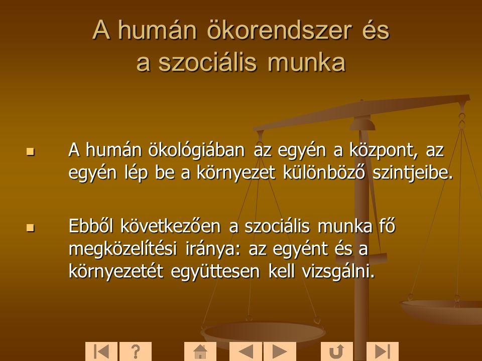 A humán ökorendszer és a szociális munka  A humán ökológiában az egyén a központ, az egyén lép be a környezet különböző szintjeibe.