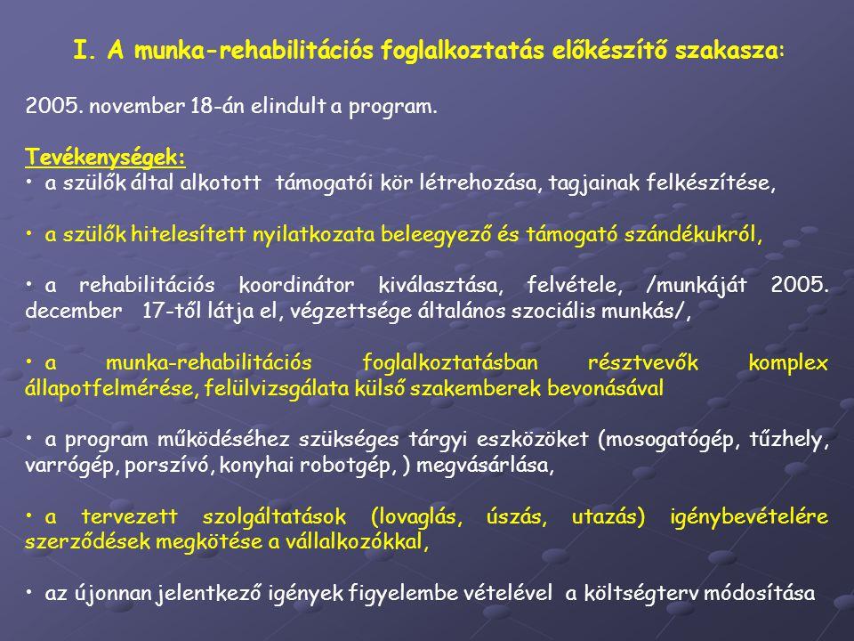 I.A munka-rehabilitációs foglalkoztatás előkészítő szakasza: 2005.
