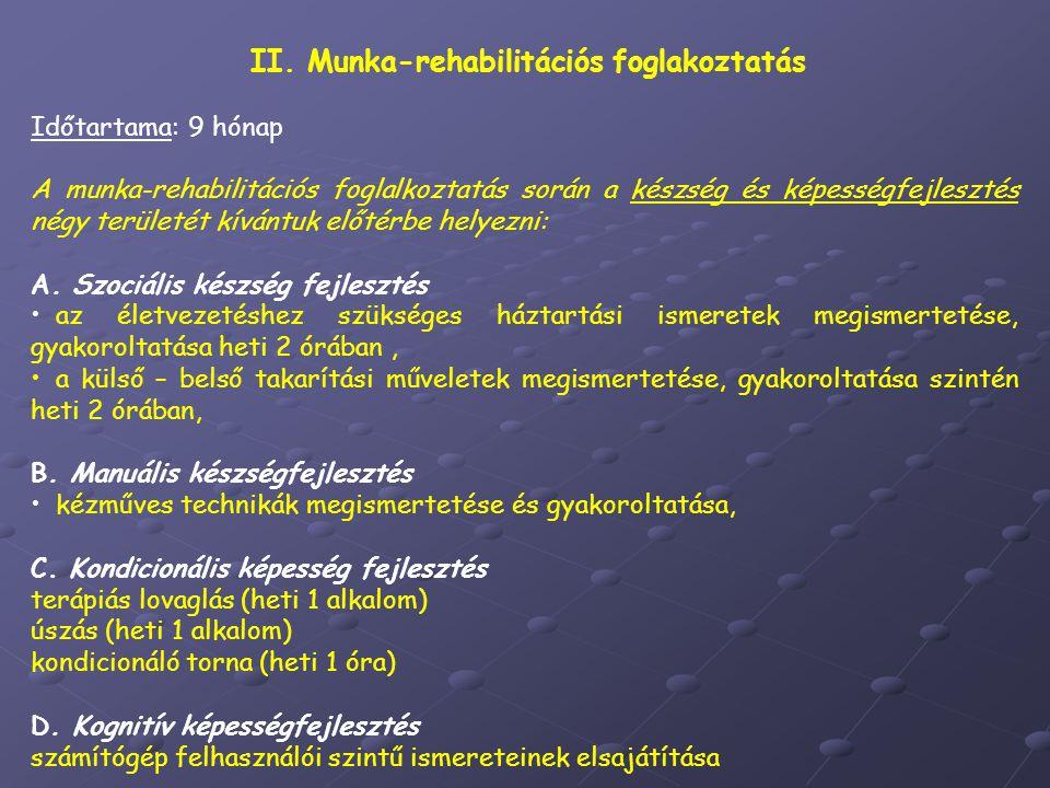 II. Munka-rehabilitációs foglakoztatás Időtartama: 9 hónap A munka-rehabilitációs foglalkoztatás során a készség és képességfejlesztés négy területét