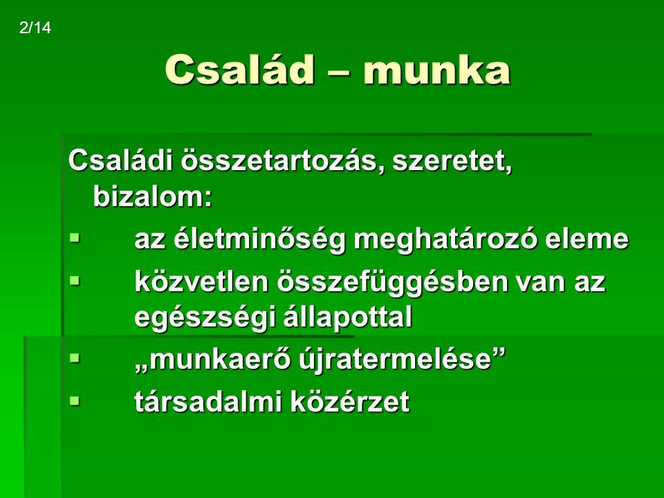 Család – munka Jövőképek IT forradalom, globalizáció 3.