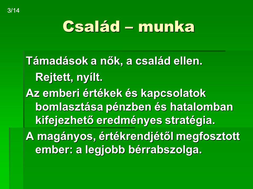 Család – munka MunkaBérmunka A család: otthon helyett ágyrajáró szállás Munka-megelégedettség, Magyarország Economist, 1997:77% elégedetlen Saját kutatás, 2005: nők60 % elégedetlen férfiak68 % elégedetlen 4/14