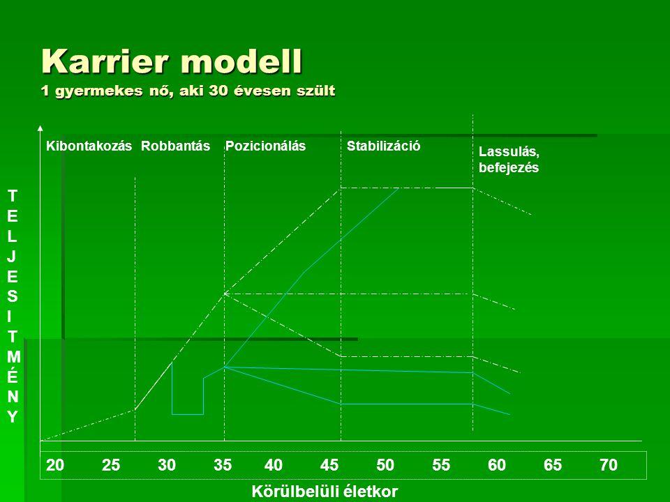 Karrier modell 2 gyermekes nő, aki 30-as éveiben egymás után szült 20 25 30 35 40 45 50 55 60 65 70 TELJESITMÉNYTELJESITMÉNY Körülbelüli életkor KibontakozásRobbantás PozicionálásStabilizációLassulás, befejezés