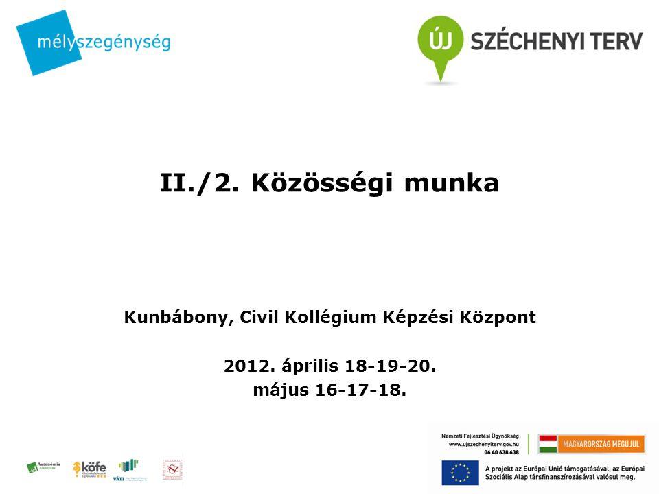 II./2. Közösségi munka Kunbábony, Civil Kollégium Képzési Központ 2012.