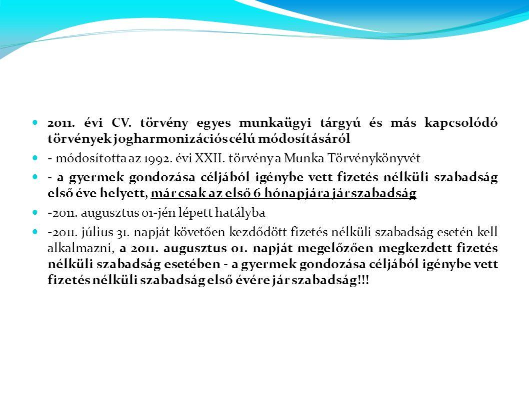  2011. évi CV. törvény egyes munkaügyi tárgyú és más kapcsolódó törvények jogharmonizációs célú módosításáról  - módosította az 1992. évi XXII. törv
