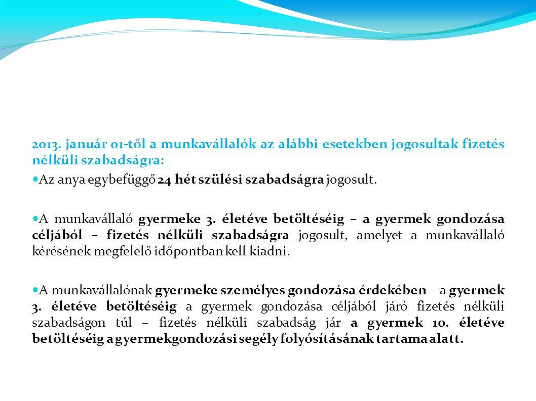 2013. január 01-től a munkavállalók az alábbi esetekben jogosultak fizetés nélküli szabadságra:  Az anya egybefüggő 24 hét szülési szabadságra jogosu