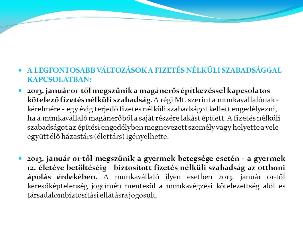  A LEGFONTOSABB VÁLTOZÁSOK A FIZETÉS NÉLKÜLI SZABADSÁGGAL KAPCSOLATBAN:  2013. január 01-től megszűnik a magánerős építkezéssel kapcsolatos kötelező
