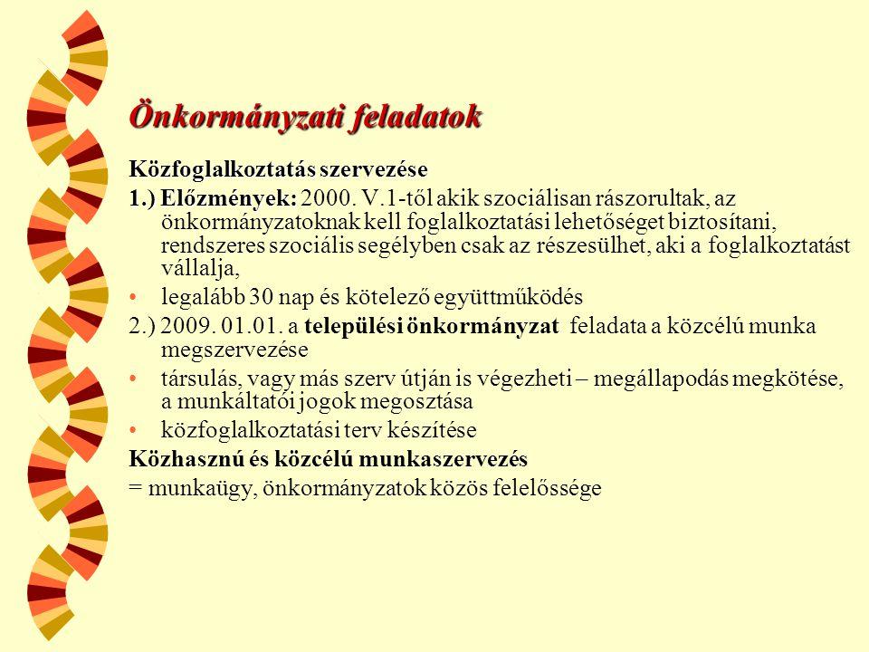 Önkormányzati feladatok Közfoglalkoztatás szervezése 1.) Előzmények: 1.) Előzmények: 2000. V.1-től akik szociálisan rászorultak, az önkormányzatoknak