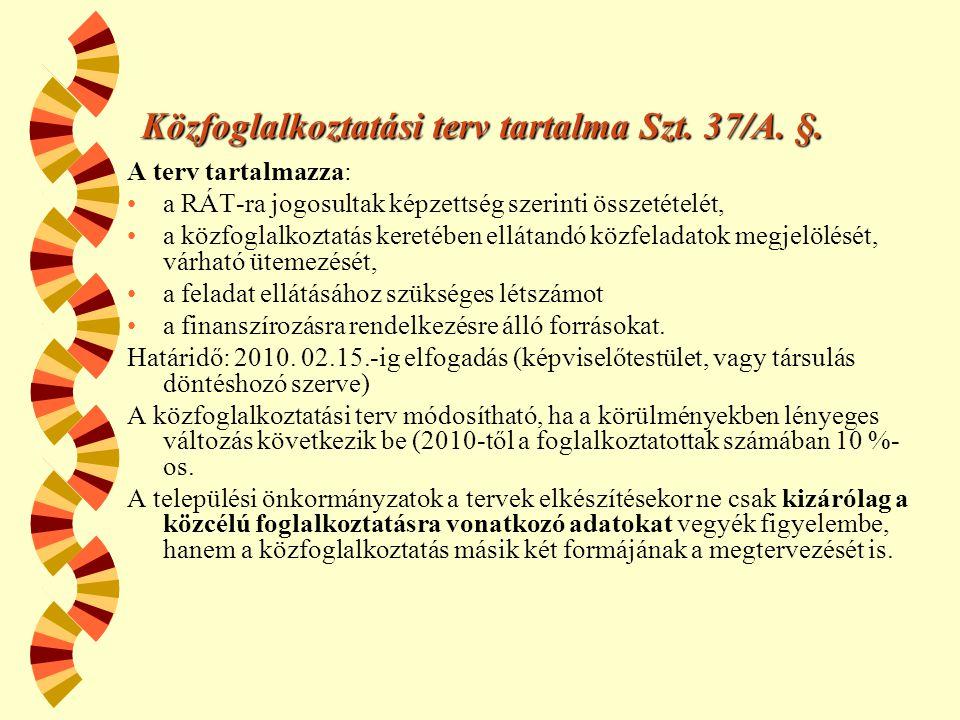 Közfoglalkoztatási terv tartalma Szt.37/A. §.