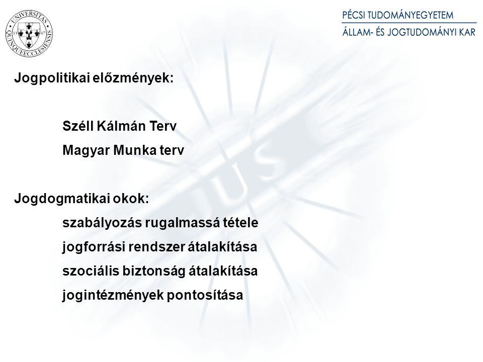 Jogpolitikai előzmények: Széll Kálmán Terv Magyar Munka terv Jogdogmatikai okok: szabályozás rugalmassá tétele jogforrási rendszer átalakítása szociál