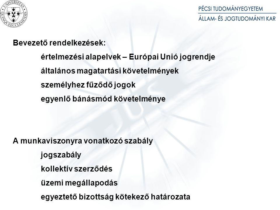 Bevezető rendelkezések: értelmezési alapelvek – Európai Unió jogrendje általános magatartási követelmények személyhez fűződő jogok egyenlő bánásmód kö