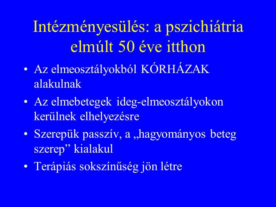 Intézményesülés: a pszichiátria elmúlt 50 éve itthon •Az elmeosztályokból KÓRHÁZAK alakulnak •Az elmebetegek ideg-elmeosztályokon kerülnek elhelyezésr