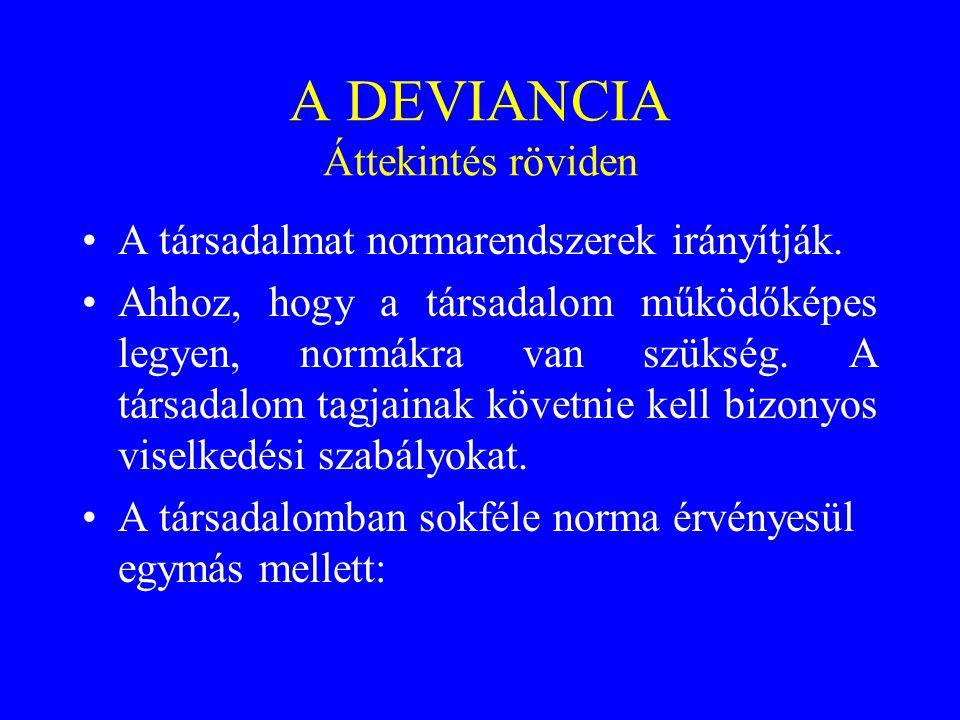 A DEVIANCIA Áttekintés röviden •A társadalmat normarendszerek irányítják. •Ahhoz, hogy a társadalom működőképes legyen, normákra van szükség. A társad