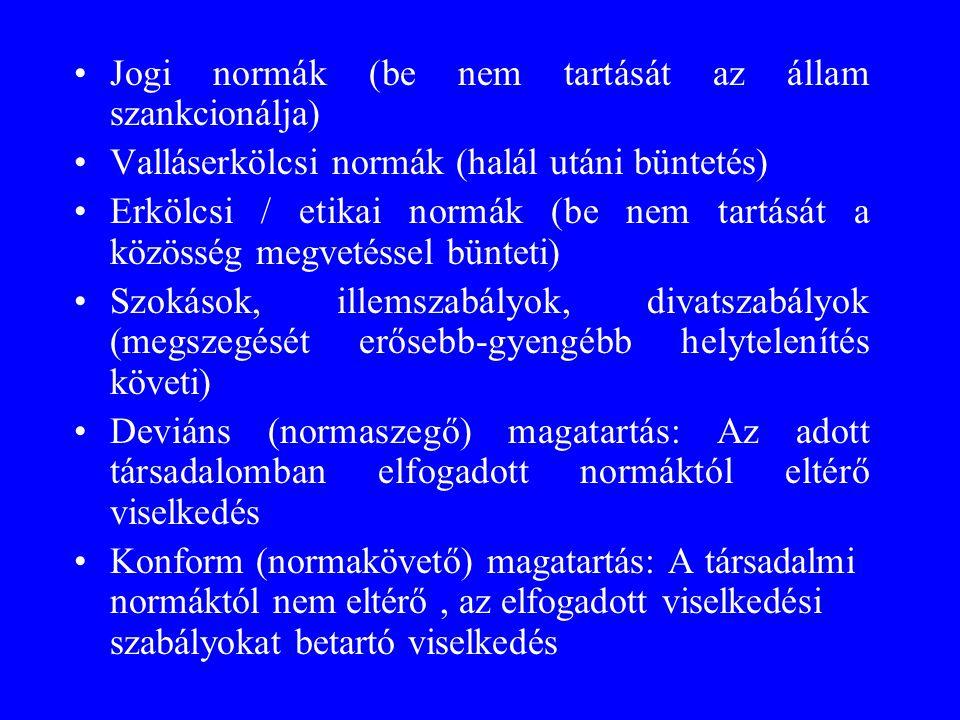 •Jogi normák (be nem tartását az állam szankcionálja) •Valláserkölcsi normák (halál utáni büntetés) •Erkölcsi / etikai normák (be nem tartását a közös