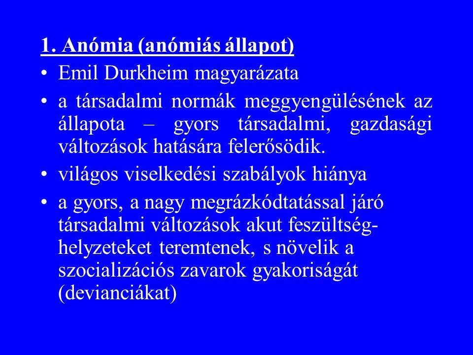 1. Anómia (anómiás állapot) •Emil Durkheim magyarázata •a társadalmi normák meggyengülésének az állapota – gyors társadalmi, gazdasági változások hatá