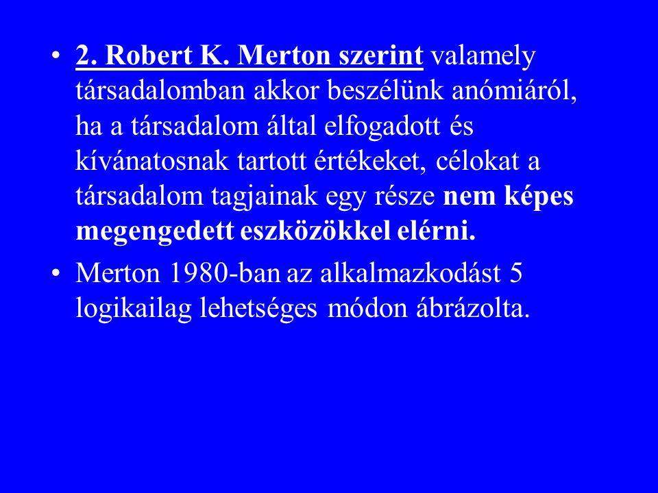•2. Robert K. Merton szerint valamely társadalomban akkor beszélünk anómiáról, ha a társadalom által elfogadott és kívánatosnak tartott értékeket, cél