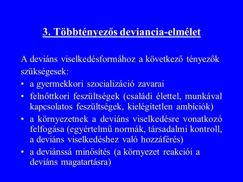 3. Többtényezős deviancia-elmélet A deviáns viselkedésformához a következő tényezők szükségesek: •a gyermekkori szocializáció zavarai •felnőttkori fes