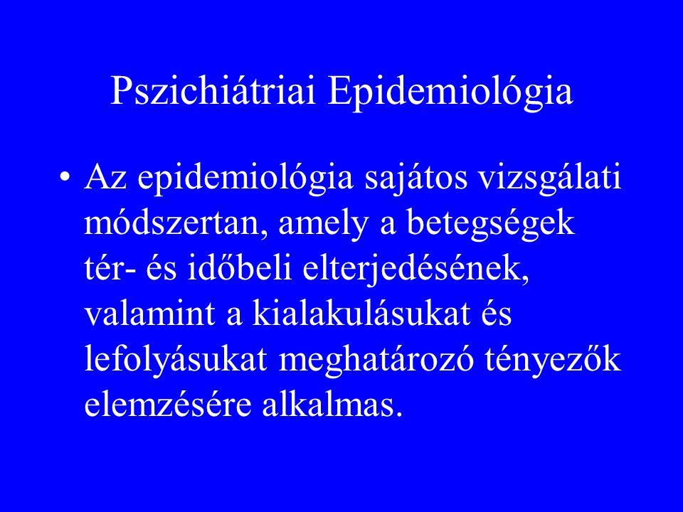 Pszichiátriai Epidemiológia •Az epidemiológia sajátos vizsgálati módszertan, amely a betegségek tér- és időbeli elterjedésének, valamint a kialakulásu