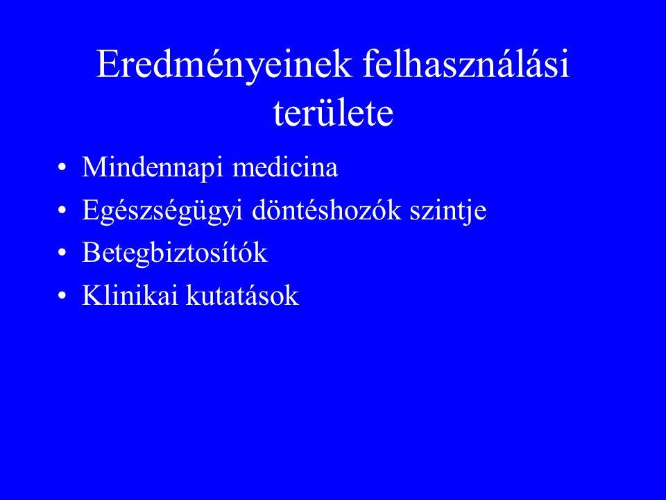 Eredményeinek felhasználási területe •Mindennapi medicina •Egészségügyi döntéshozók szintje •Betegbiztosítók •Klinikai kutatások