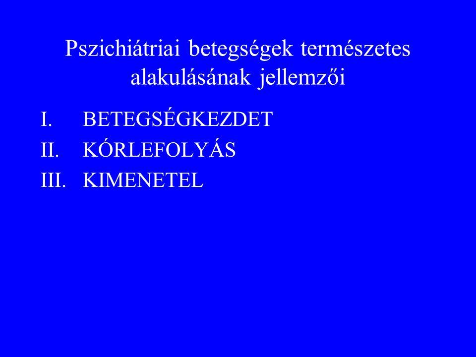 Pszichiátriai betegségek természetes alakulásának jellemzői I.BETEGSÉGKEZDET II.KÓRLEFOLYÁS III.KIMENETEL