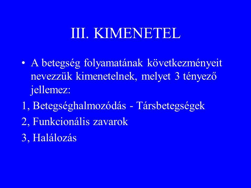 III. KIMENETEL •A betegség folyamatának következményeit nevezzük kimenetelnek, melyet 3 tényező jellemez: 1, Betegséghalmozódás - Társbetegségek 2, Fu