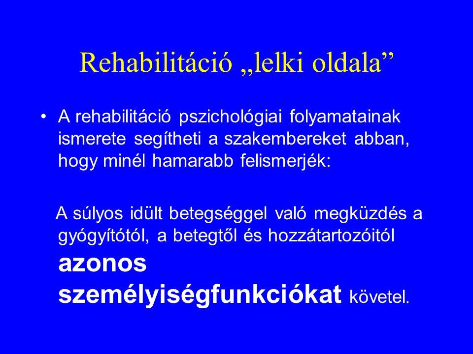 """Rehabilitáció """"lelki oldala"""" •A rehabilitáció pszichológiai folyamatainak ismerete segítheti a szakembereket abban, hogy minél hamarabb felismerjék: A"""
