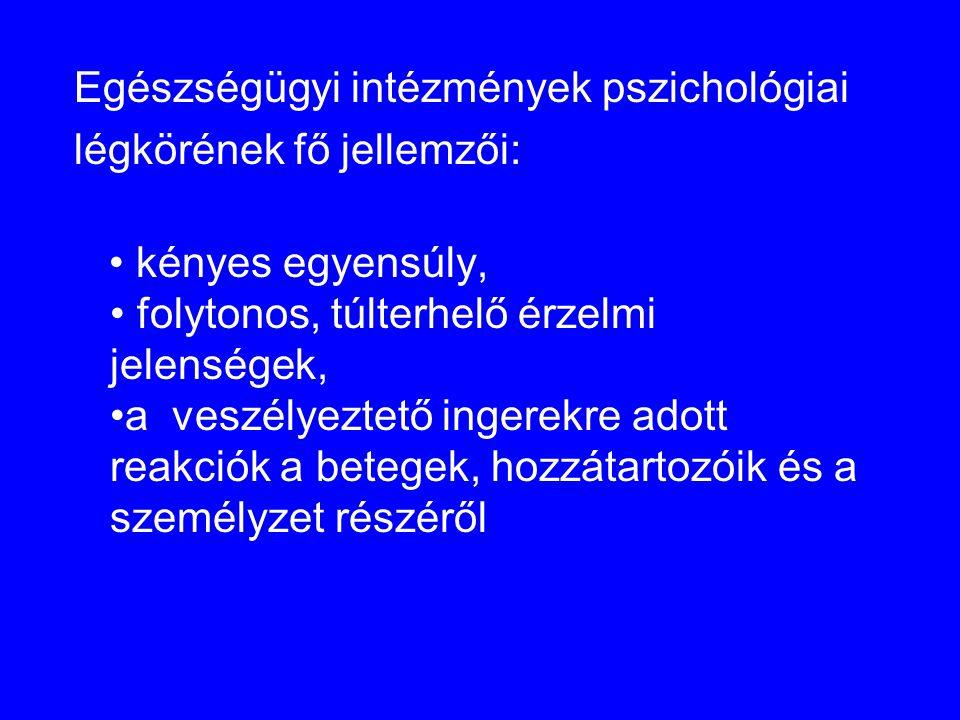 Egészségügyi intézmények pszichológiai légkörének fő jellemzői: • kényes egyensúly, • folytonos, túlterhelő érzelmi jelenségek, •a veszélyeztető inger
