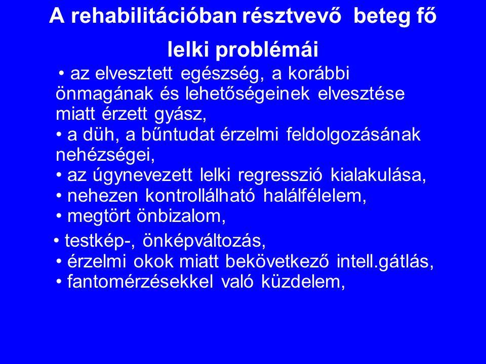 A rehabilitációban résztvevő beteg fő lelki problémái • az elvesztett egészség, a korábbi önmagának és lehetőségeinek elvesztése miatt érzett gyász, •