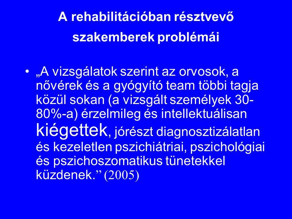 """A rehabilitációban résztvevő szakemberek problémái •""""A vizsgálatok szerint az orvosok, a nővérek és a gyógyító team többi tagja közül sokan (a vizsgál"""