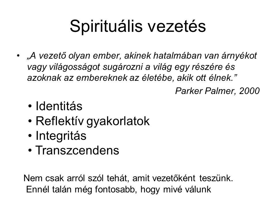 """Spirituális vezetés •""""A vezető olyan ember, akinek hatalmában van árnyékot vagy világosságot sugározni a világ egy részére és azoknak az embereknek az életébe, akik ott élnek. Parker Palmer, 2000 • Identitás • Reflektív gyakorlatok • Integritás • Transzcendens Nem csak arról szól tehát, amit vezetőként teszünk."""