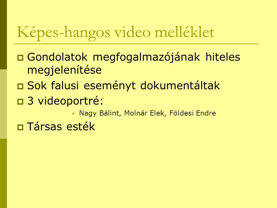 Képes-hangos video melléklet  Gondolatok megfogalmazójának hiteles megjelenítése  Sok falusi eseményt dokumentáltak  3 videoportré:  Nagy Bálint,
