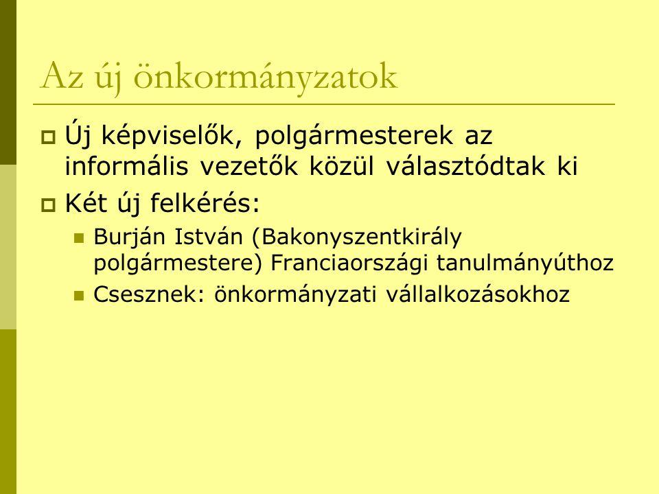 Az új önkormányzatok  Új képviselők, polgármesterek az informális vezetők közül választódtak ki  Két új felkérés:  Burján István (Bakonyszentkirály
